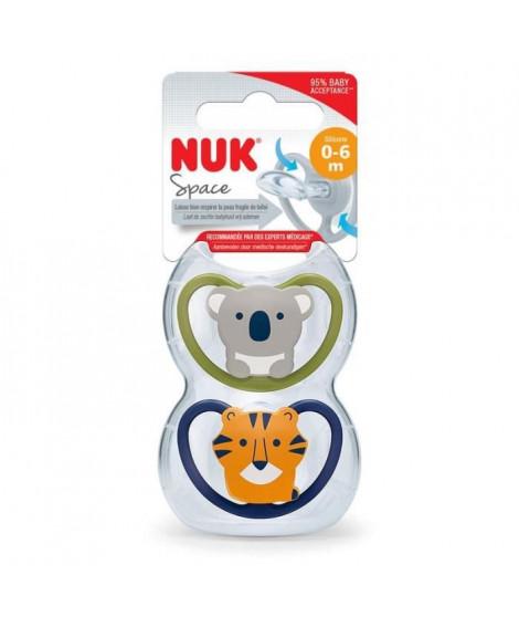 NUK 2 Sucettes SPACE 0-6m Koala/Tigre