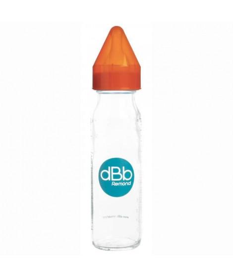 DBB REMOND Biberon Verre 240 Ml Regul'air Tétine Non Silicone - System Orange Translucide - S/Bte