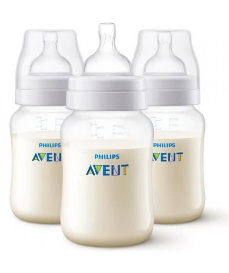 PHILIPS AVENT Lot de 3 biberons Anti-colic Classic+ - Systeme anti-colliques - 260 ml