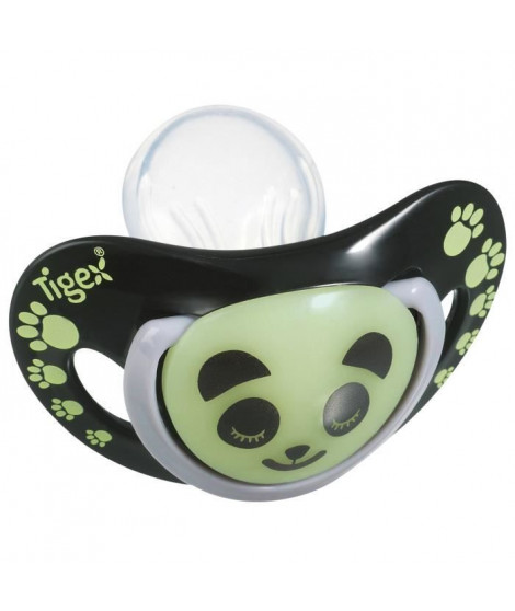 TIGEX 2 Sucettes Smart Night en Silicone Taille 18 Mois+ Panda Phosphorescente