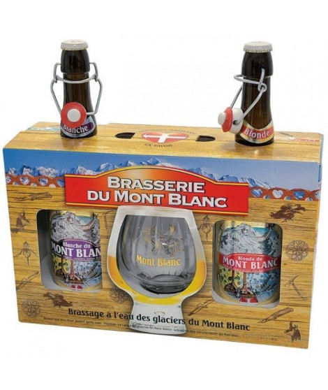 MONT BLANC Coffret bieres blondes 2x 75 cl + 1 verre