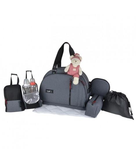 Baby on board - saca a langer- week end team smoke-sac de voyage bébé   - gris chiné détails cuir bordeaux et noir sac grand …