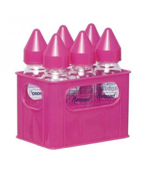 DBB REMOND Lot de 6 biberons en verre 240 ml + Porte-biberons - Rose