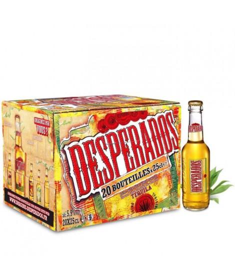 DESPERADOS Pack de 20 Bieres - Aromatisée Téquila - Alc 5,9% vol - 25cl