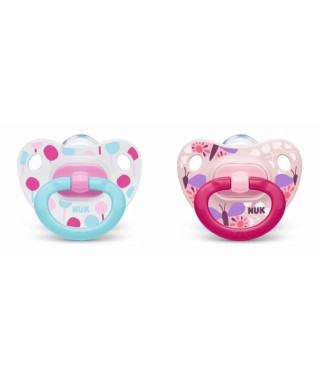 NUK 2 Sucettes Taille 2 Classic - Fille