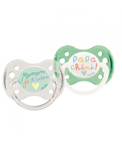 DODIE 2 Sucettes anatomiques Duo Papa Maman - 0-6 Mois - Silicone