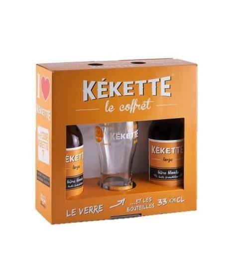 Coffret de 2 bieres Kekette avec une verre - Blonde - 33 cl