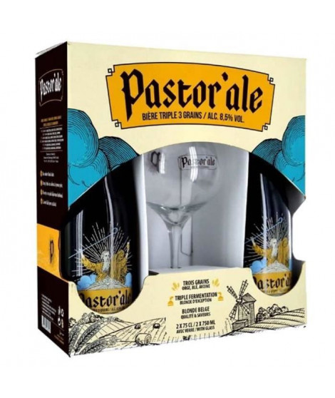 PASTOR'ALE - Coffret de 2 bieres + 1 verre - 2 x 75 cl
