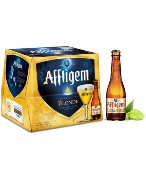 AFFLIGEM Lot de 12 bouteilles de Biere - Blonde - 6,7 ° - 25 cl