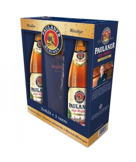 PAULANER HEFFE-WEISS Coffret de 2 bieres x 50 cl + 1 verre
