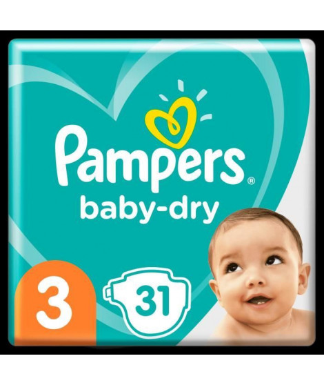 Pampers Baby-Dry Taille 3, 31 Couches