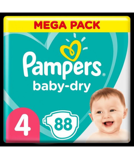 Pampers Baby-Dry Taille 4, 88 Couches