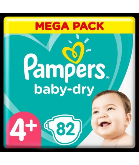 Pampers Baby-Dry Taille 4+, 82 Couches