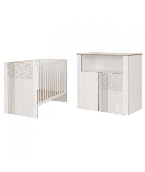 GALIPETTE CARDIFF Meubles Chambre bébé : Lit 60 x 120 cm - Commode 2 portes 1 niche et plan a langer droit