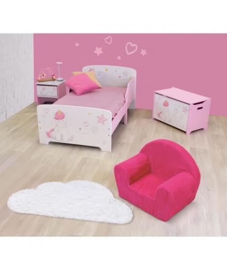 CIJEP Pack chambre pour enfant Fille rose et blanc theme Licorne (lit, table de chevet, coffre et fauteuil)