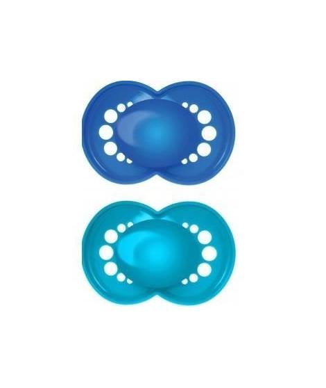 MAM Sucette Décor Classique - de 0 a 6 mois - Silicone - Lot de 2 sucettes en boîte de stérilisation - coloris aléatoire