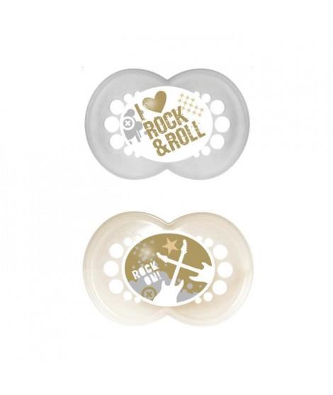 MAM Sucette Décor Tendance - a partir de 18 mois - Silicone - Lot de 2 sucettes en boîte de stérilisation - coloris aléatoire