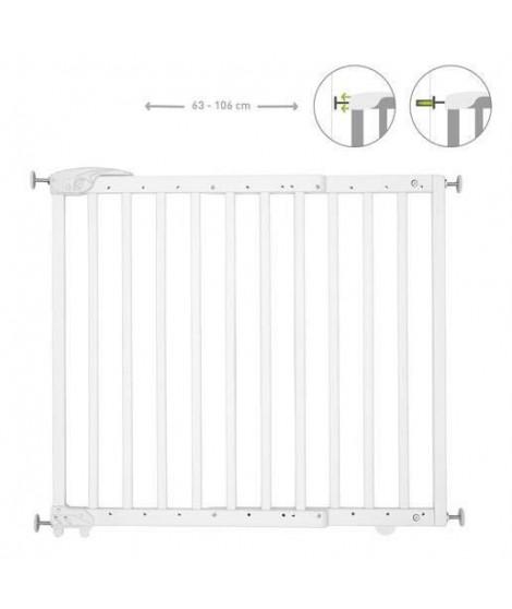 Badabulle Deco Pop Blanche Barriere de Sécurité Extensible Fixation Pression & Vis (63,5 - 106cm)