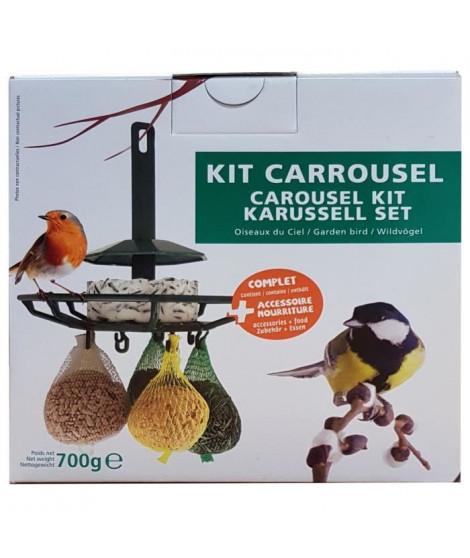 AIME Kit carrousel mangeoire et nourriture - 17,5 x 17,5 x 17,5 cm - Pour oiseaux du ciel