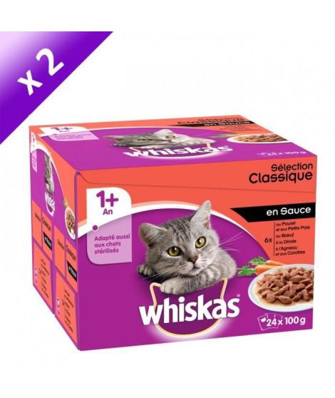 WHISKAS Sachets fraîcheur en sauce - 4 variétés - Pour chat adulte stérilisé - 24 x 100 g (x2)