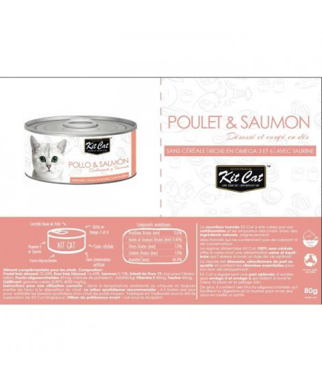 KIT CAT Poulet et Saumon - Pour chat - Boîte de 24 conserves - 80 g