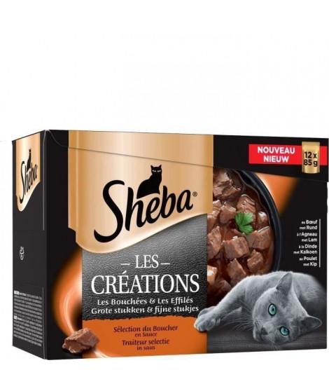 SHEBA Lot de 4 Sachets fraîcheur en sauce sélection du boucher - Pour chat - 12 x 85 g
