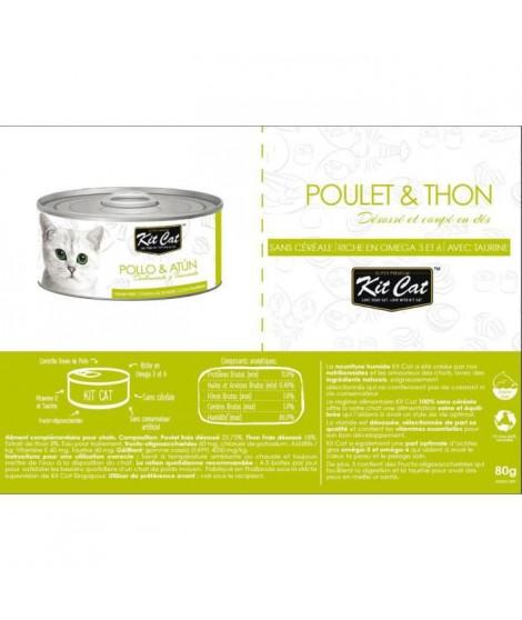 KIT CAT Poulet et Thon - Pour chat - Boîte de 24 conserves - 80 g