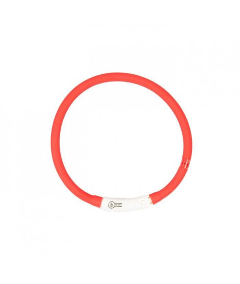 DUVO Anneau Lumineux Seecurity Flash Light Ring USB Silicone - 45 cm - Rouge - Pour chien