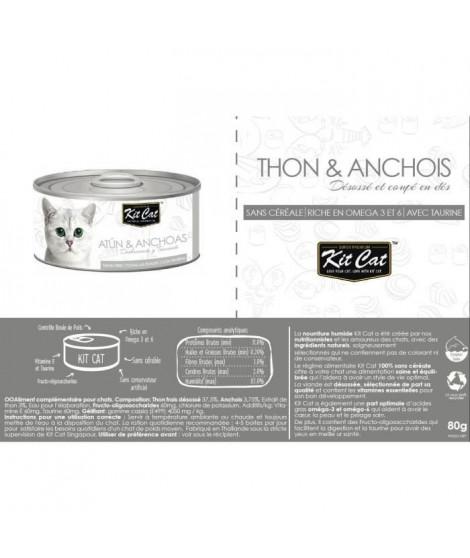 KIT CAT Thon et Anchois - Pour chat - Boîte de 24 conserves - 80 g