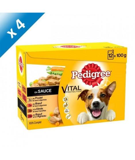 PEDIGREE Sachets fraîcheur en sauce 4 variétés - Pour chien - 12x 100 g (x4)