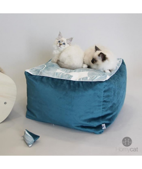HOMYCAT Pouf cube S motif plume - L45 x l45 x H30 cm - Emeraude - Pour chat