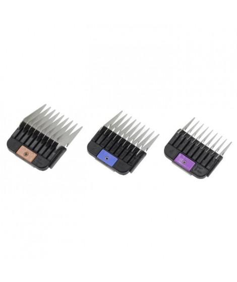 MOSER Set de fixation de peignes - Acier inoxydable - 6, 10, 13mm - Pour chien