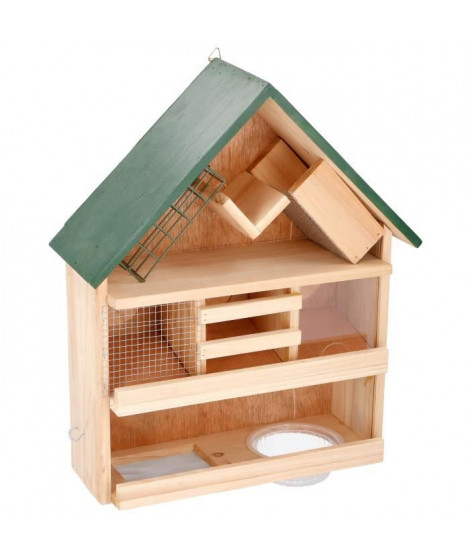 Mangeoire en bois - 9 en 1 - 44 x 39 x 13 cm - Pour oiseaux