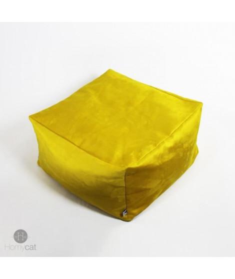 HOMYCAT Pouf cube S - L45 x l45 x H30 cm - Jaune - Pour chat