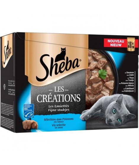 SHEBA Sachets fraîcheur en sauce sélection aux poissons - Pour chat - 12 x 85 g