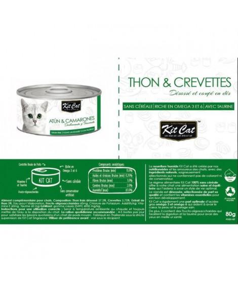 KIT CAT Thon et Crevettes - Pour chat - Boîte de 24 conserves - 80 g