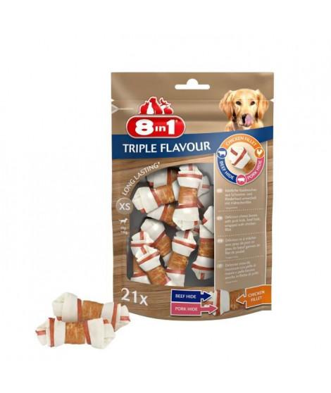 8in1 Triple Flavour Os a mâcher Premium XS aux Boeuf, Porc, Poulet - Pour chien de petite taille - 10 pieces