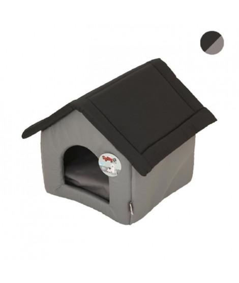 Maison Pagode 47 x 39 x 42cm noir/gris pour chat