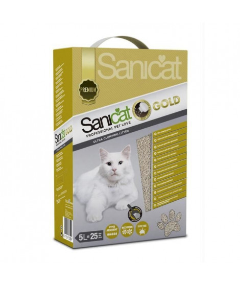 SANICAT Litiere Gold Ultra Clumping 5L - Pour chat