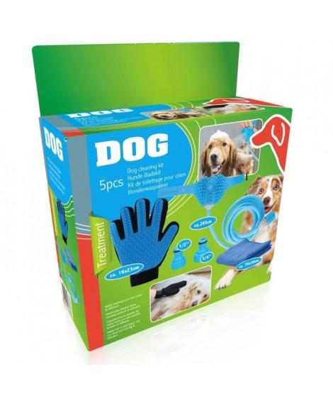 Kit de toilettage 5 pieces - Tuyau 250 cm, 2 raccords, 1gant, 1 serviette - Pour chien