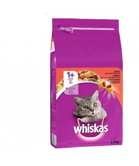 WHISKAS Croquettes au boeuf - Pour chat adulte - 3,8 kg (x3)
