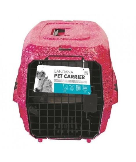 MPETS Cage de transport Bandana- Pour chien - 58x40x26,5cm - Rose