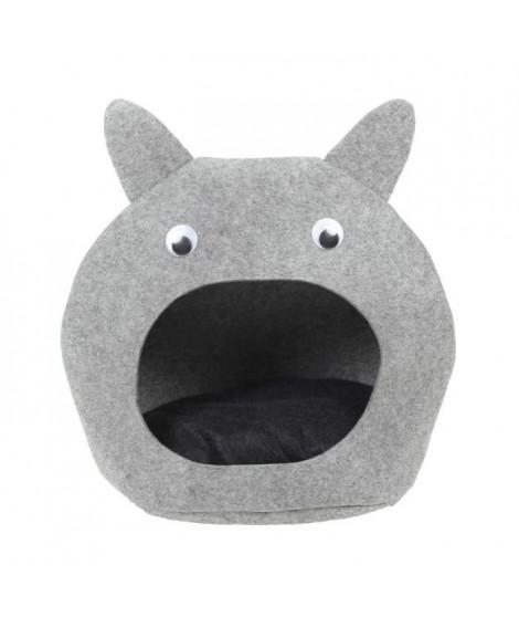 BUBIMEX Panier Tete de chat en feutre 50 x 50 cm - Gris - Pour chat