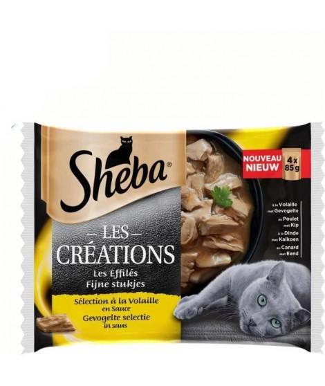 SHEBA Lot de 13 Sachets fraîcheur en sauce sélection a la volaille - Pour chat - 4 x 85 g