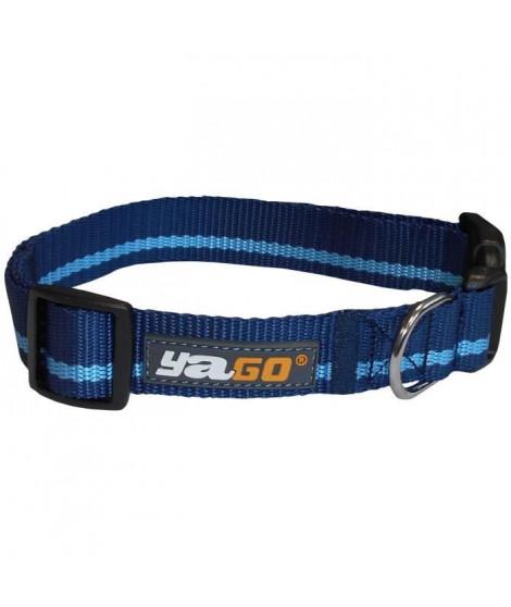YAGO Collier pour chien en Nylon, Couleur Bleu/Bleu Ciel, pour moyen chien, taille M 34-53 cm