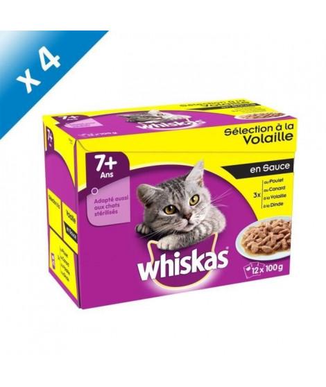 WHISKAS Sachets fraîcheur en sauce - a la volaille - Pour chat senior stérilisé - 12 x 100 g (x4)
