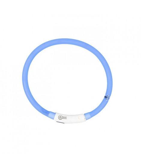 DUVO Anneau Lumineux Seecurity Flash Light Ring USB Silicone - 45 cm - Bleu - Pour chien