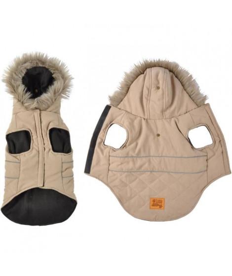 Doudoune Chuck - Capuche fausse fourrure doublée polaire - 35 cm - Taupe - Pour chien