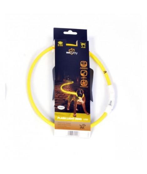 DUVO Anneau Lumineux Seecurity Flash Light Ring USB Nylon - 65 cm - Jaune - Pour chien