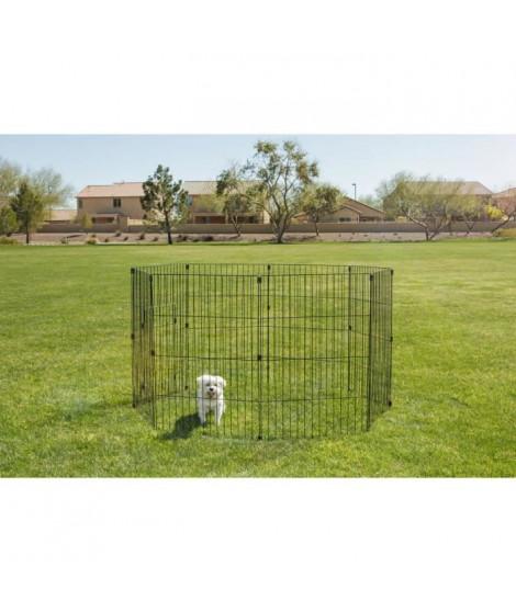 IRIS OHYAMA - Parc d'extérieur - Ancrage au sol - 36 pouces - époxy - Noir - 1,5 m² - Pour chien